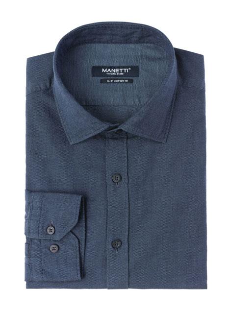 Ανδρικό Πουκάμισο Manetti casual jean blue