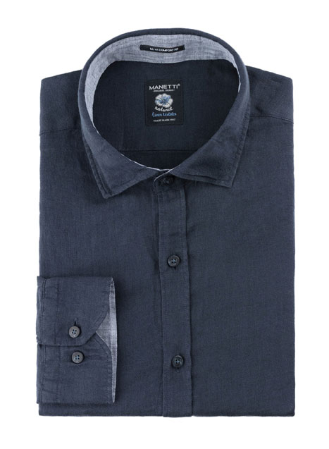 Ανδρικό Πουκάμισο Manetti casual navy blue