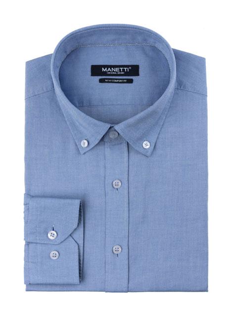Ανδρικό Πουκάμισο Manetti casual oxford blue