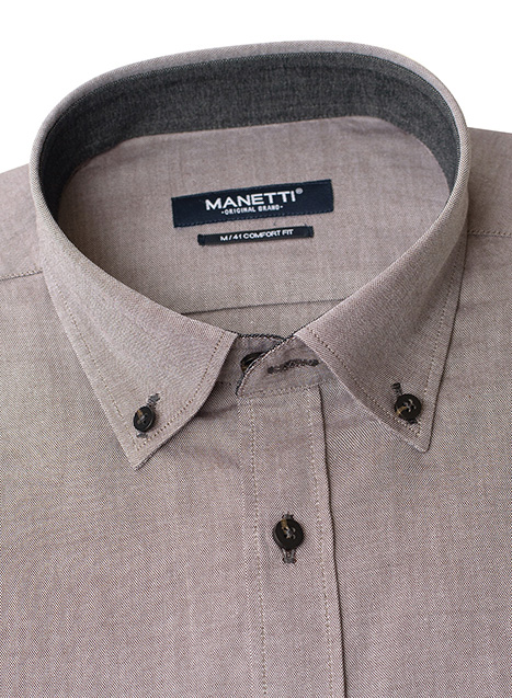 Ανδρικό Πουκάμισο Manetti casual khaki brown