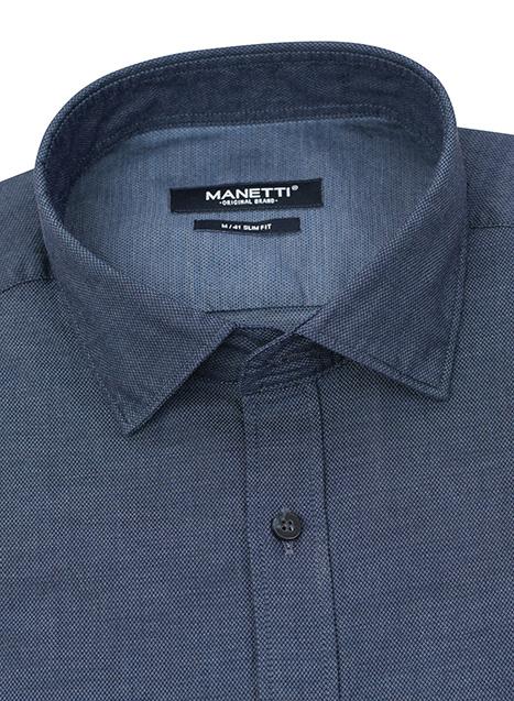 Ανδρικό Πουκάμισο Manetti casual indigo blue