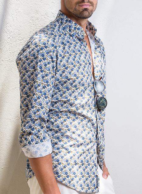 Ανδρικό Πουκάμισο Manetti casual blue-beige