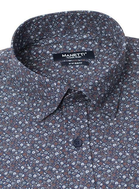 Ανδρικό Πουκάμισο Manetti casual blue-brown