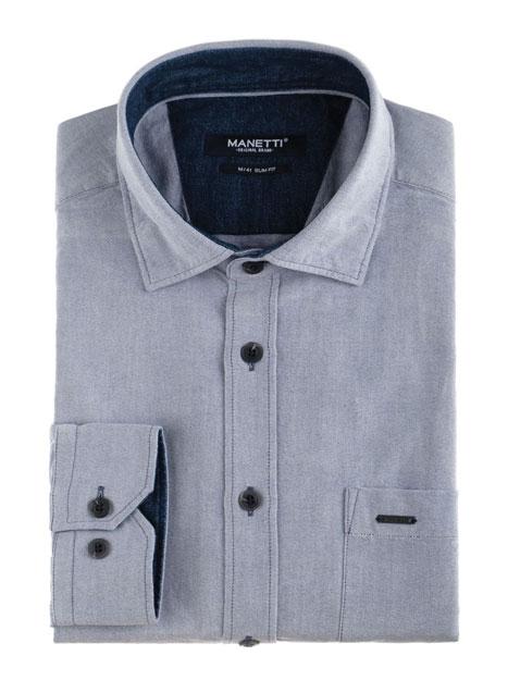 Ανδρικό Πουκάμισο Manetti casual blue oxford