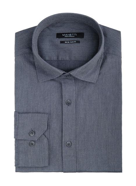 Ανδρικό Πουκάμισο Manetti casual indigo grey