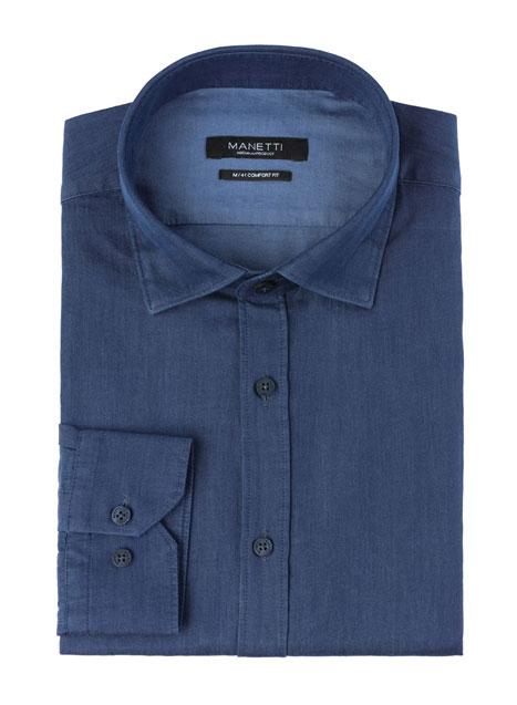 Ανδρικό Πουκάμισο Manetti casual denim blue