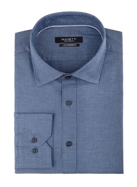 Ανδρικό Πουκάμισο Manetti formal denim blue