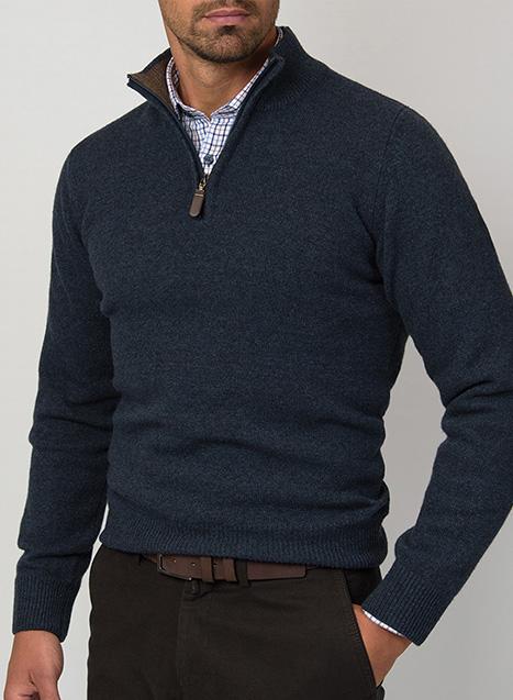 Ανδρικό Πλεκτό half zip Manetti casual indigo