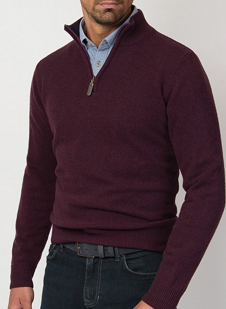 Ανδρικό Πλεκτό half zip Manetti casual wine