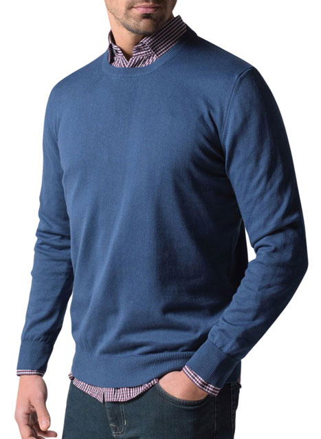 Ανδρικό Πουλόβερ λαιμόκοψη Manetti casual indigo