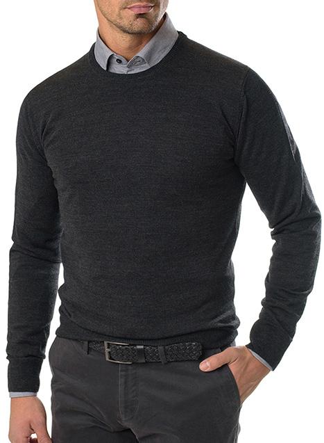 Ανδρικό Πλεκτό λαιμόκοψη Manetti casual grey melange