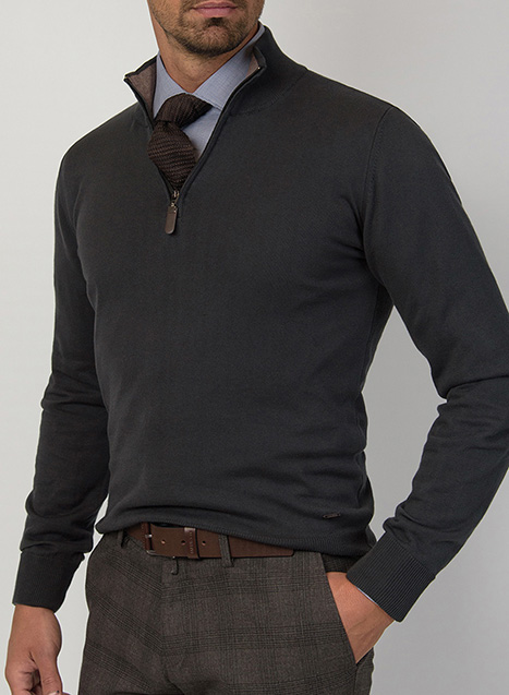 Ανδρικό Πλεκτό half zip Manetti casual dark grey