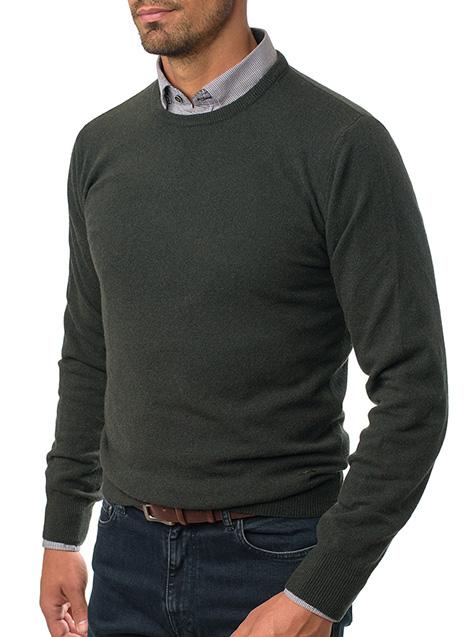Ανδρικό Πλεκτό λαιμόκοψη Manetti casual dark green
