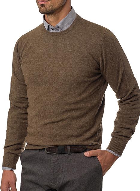 Ανδρικό Πλεκτό λαιμόκοψη Manetti casual warm fango