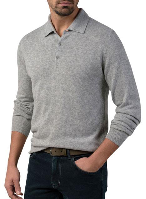 Ανδρικό Πλεκτό polo Manetti casual light grey melange