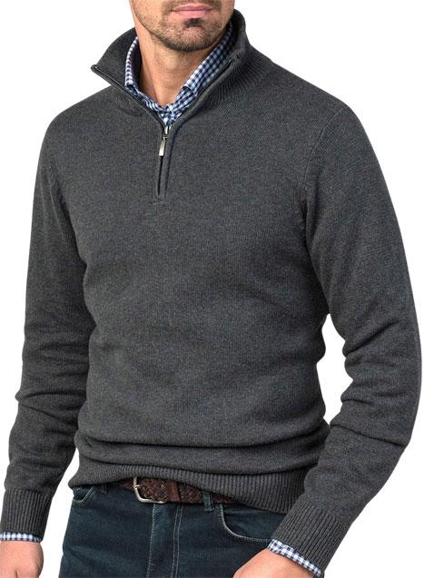 Ανδρικό Πλεκτό half zip Manetti casual grey