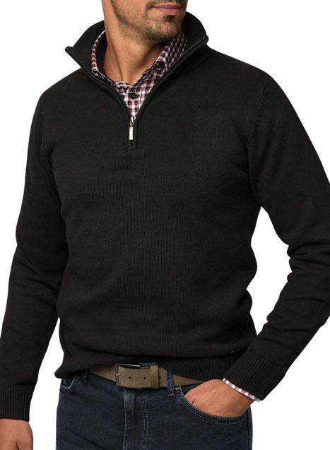 Ανδρικό Πλεκτό half zip Manetti casual black