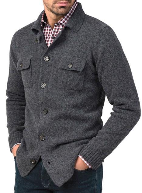 Ανδρικό Ζακέτα κουμπιά Manetti accessories dark grey melanze