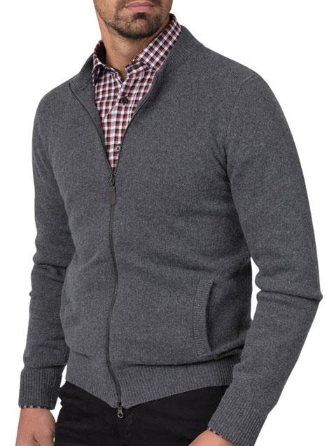 Ανδρικό Ζακέτα με φερμουάρ Manetti casual grey melange