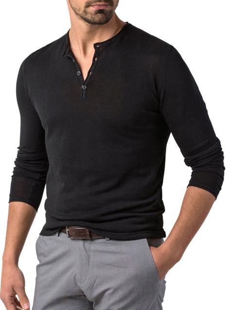 Ανδρικό Πλεκτό Henley Manetti casual black