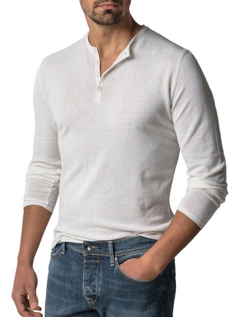 Ανδρικό Πλεκτό Henley Manetti casual white