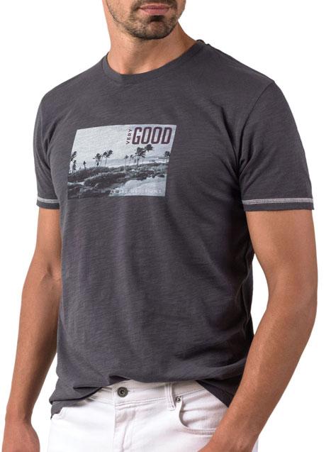 Ανδρικό T-shirt κοντό μανίκι Manetti casual dark grey
