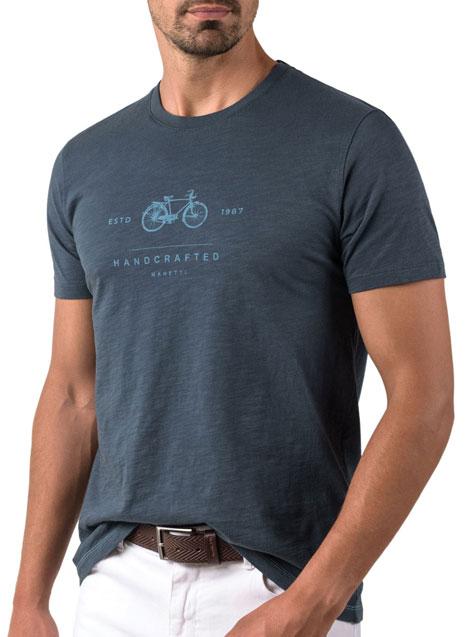 Ανδρικό T-shirt κοντό μανίκι Manetti casual blue