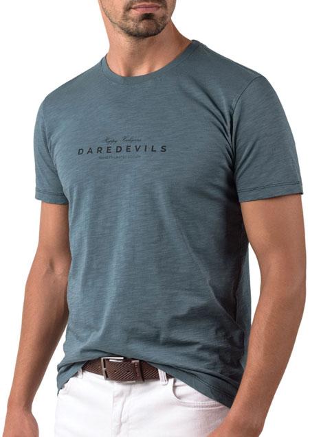 Ανδρικό T-shirt κοντό μανίκι Manetti casual dark turquoise
