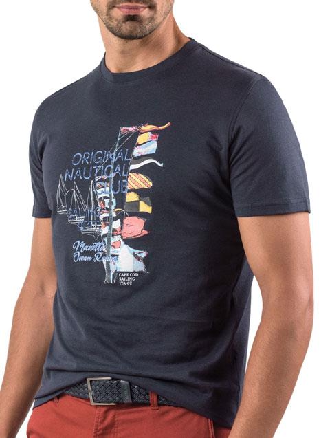Ανδρικό T-shirt Manetti casual navy blue