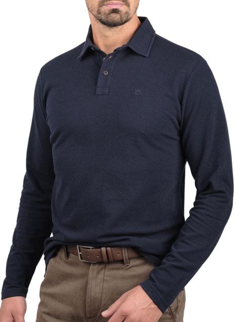 Ανδρικό Polo πικέ Manetti casual navy blue
