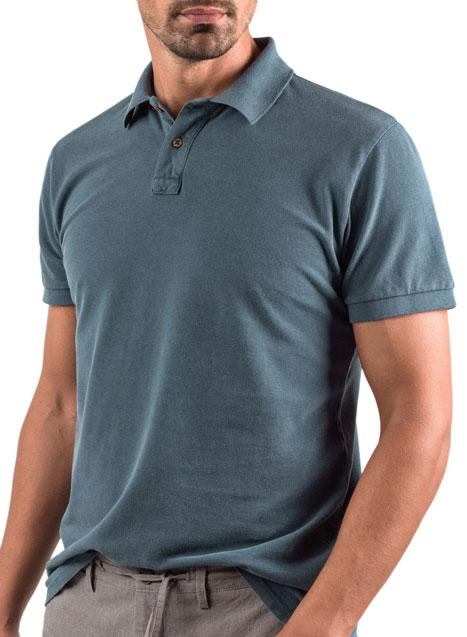 Ανδρικό Polo shirt acid wash Manetti casual dark turquise