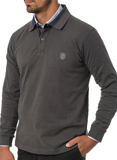 Ανδρικό Polo jersey Manetti casual steel grey
