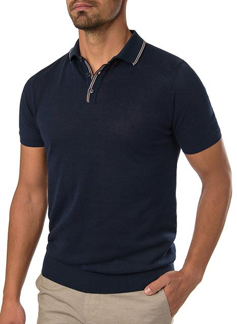Ανδρικό Πλεκτό polo Manetti casual blue
