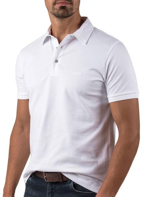 Ανδρικό Polo πικέ Manetti casual white