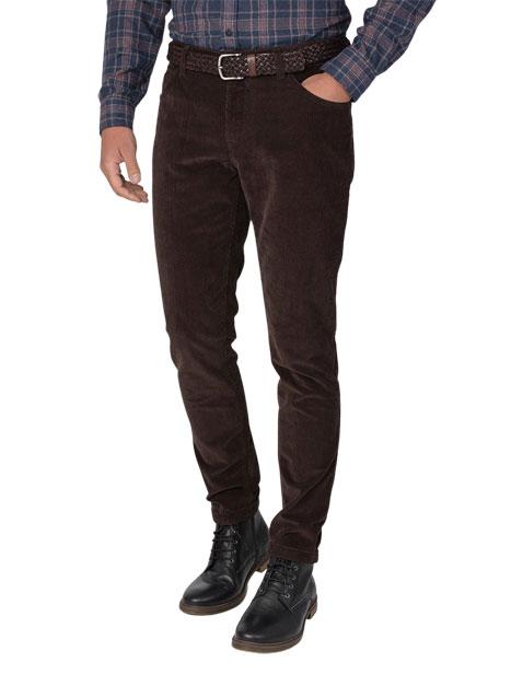 Ανδρικό Παντελόνι κοτλέ 5τσεπο casual khaki brown