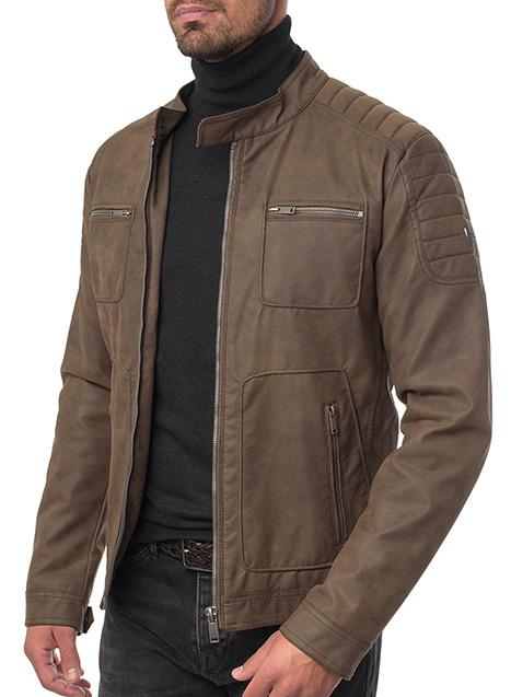 Ανδρικό Μπουφάν biker Manetti casual brown