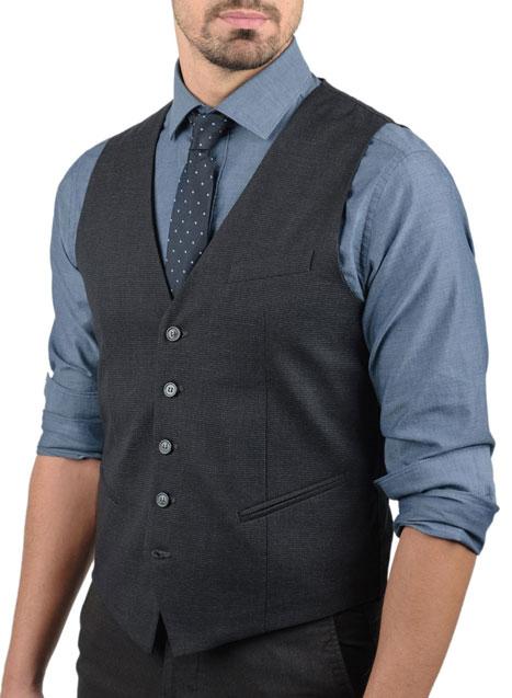 Ανδρικό Υφασμάτινο γιλέκο Manetti formal dark grey